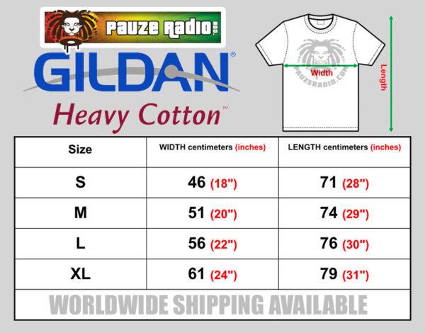 Pauzeradio Gildan T-Shirt Size Chart
